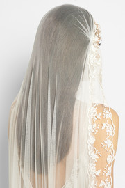 Baum embroidered silk-tulle veil