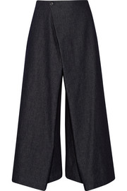 Institution wrap-front denim culottes