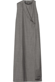 Draped wool-gabardine midi dress