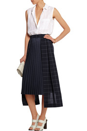 Checked wool and plissé-poplin skirt