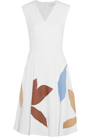 Leigh appliquéd crepe dress