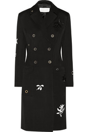 Margaret appliquéd wool-gabardine coat