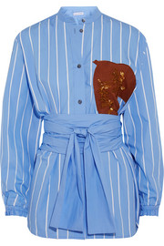 Jonathan Saunders Alex appliquéd pinstriped cotton-poplin shirt