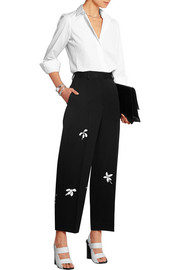 Daisy appliquéd wool-gabardine wide-leg pants