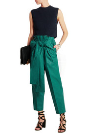 Macy pleated linen straight-leg pants