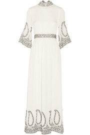 Monika embroidered silk maxi dress