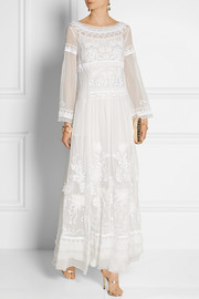 Floral-embroidered silk-chiffon gown