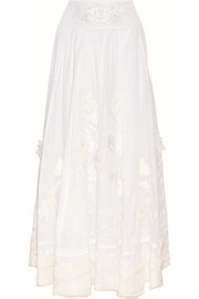 Floral-embroidered silk-gauze maxi skirt