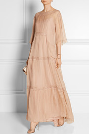 Lace-trimmed silk-chiffon gown
