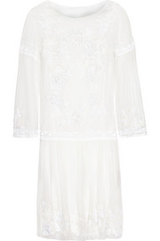Floral-embroidered silk-chiffon mini dress