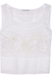 Cropped embroidered cotton top