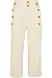 Cropped cotton-canvas wide-leg pants