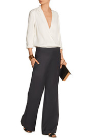 Wool-gabardine wide-leg pants