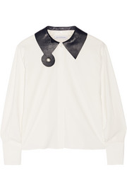 Leather-trimmed crepe shirt