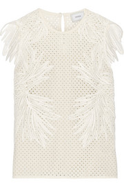 Naomi broderie anglaise and guipure lace top