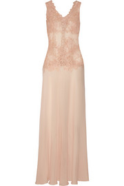 Bella Nostalgia appliquéd tulle and silk crepe de chine nightdress