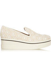 Crocheted floral-lace and canvas slip-on sneakers