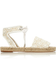 Stella McCartney Crocheted cotton and canvas espadrilles