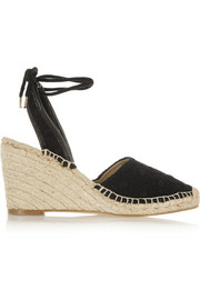 Crocheted cotton and canvas wedge espadrilles