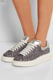 Alexander McQueen Glitter-finished leather platform sneakers