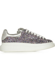 Glitter-finished leather platform sneakers