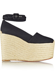 Christian Louboutin Dehia 160 canvas wedge espadrilles