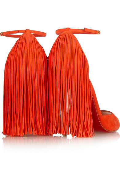 louboutin fringed colorblock suede sandals
