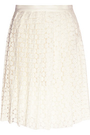 Pleat guipure lace skirt