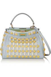 Peekaboo small embellished leather tote