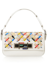 Baguette crystal-embellished leather shoulder bag