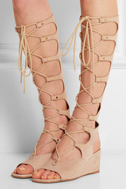 Cutout suede wedge sandals