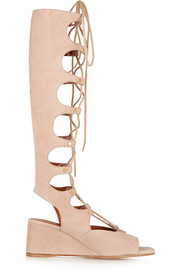 Chloé Cutout suede wedge sandals