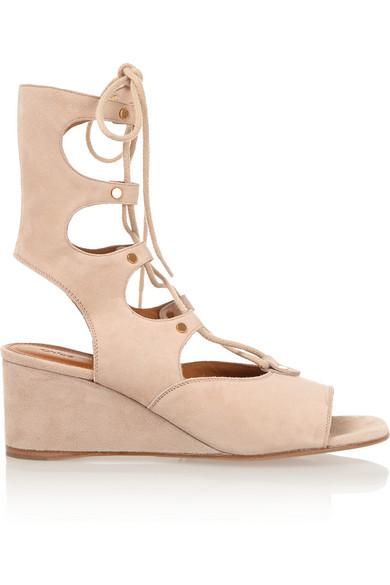 965d03725 Chloé   Lace-up suede wedge sandals   NET-A-PORTER.COM