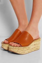 Leather and cork wedge sandals