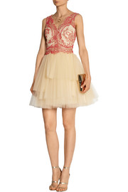 Corded lace and tulle mini dress