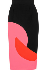 Color-block crepe skirt