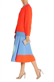 Paneled stretch-crepe midi skirt