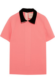 Rowden contrast-collar stretch-cady top