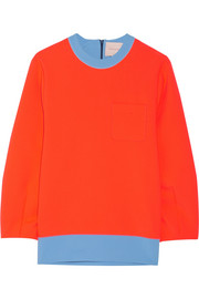Color-block stretch-crepe sweatshirt