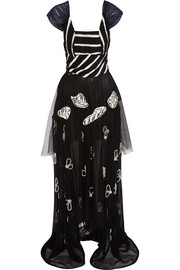 Natalie embroidered silk-chiffon gown
