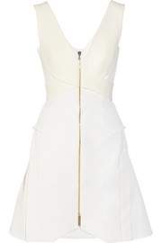 Debden crepe-paneled piqué mini dress