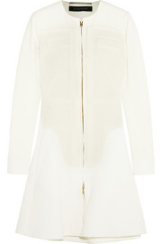 Highfield paneled stretch-crepe coat