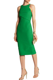 Roland Mouret Abersley waffle-knit crepe-paneled cotton-blend dress