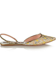 Floral-jacquard point-toe flats