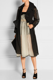 Belted oversized tulle trench coat