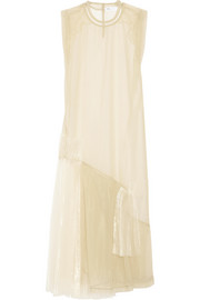 Pleated organza maxi dress