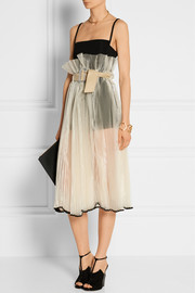 Pleated organza midi skirt