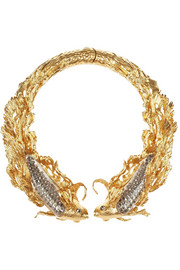 Alexander McQueen Gold-plated, Swarovski crystal and glass choker