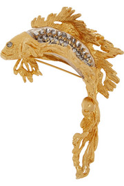 Alexander McQueen Gold-plated, Swarovski crystal and glass brooch