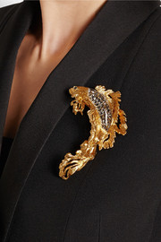 Gold-plated, Swarovski crystal and glass brooch